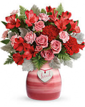 Playfully Pink Specialty crock with assorted flowers