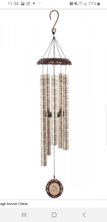 """""""You are missed"""" vintage wind chime"""