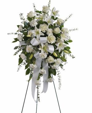 Serenely White Easel Spray in White Oak, PA | Breitinger's Flowers