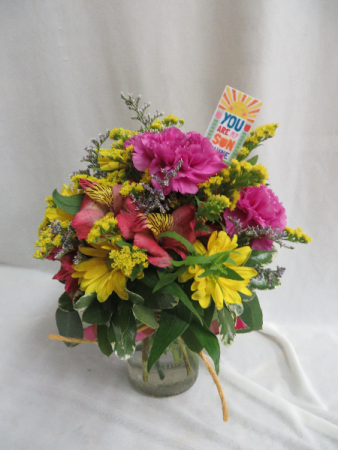 You Are My Sunshine Fresh Mason Jar Arrangement