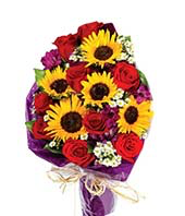 You are my sunshine  Sunflower and rose vase  in Ozone Park, NY | Heavenly Florist
