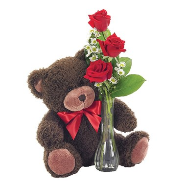 You are so huggable bud vase with bear