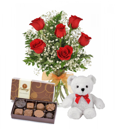 you are so loved floral bouquet  combo  Beautiful bouquet comes with chocolates and teddy bear !