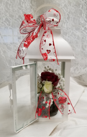 You light up my life fresh floral arrangement in lantern