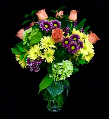 You Make Me Happy 12 Orange Roses with Bright Colors Fillers