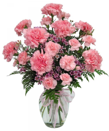 You Pink Me Up Vase Arrangement Of Pink Carnations...If No Mini Carnations We Will Use All Regular Carnations