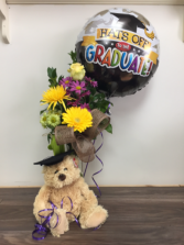 K grad bear with flowers and balloon Vase arrangement