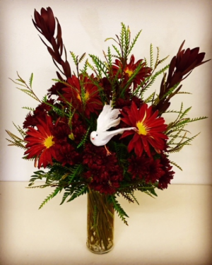 You're In Our Thoughts Glass Vase Fall Design with Rovers and Mix Fall Fillers. Accented with White Dove. in Plainview, TX | Kan Del's Floral, Candles & Gifts