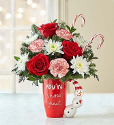 YOU'RE SNOW GREAT MUG AND CANE BOUQUET