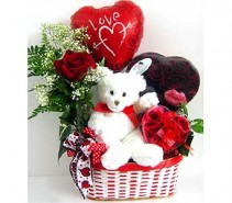 You're So Sweet Basket Rose bud vase, plush animal, Valentine chocolates, &  Valentine mylar