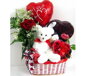 You're So Sweet Basket Rose bud vase, plush animal, Valentine chocolates, &  Valentine mylar