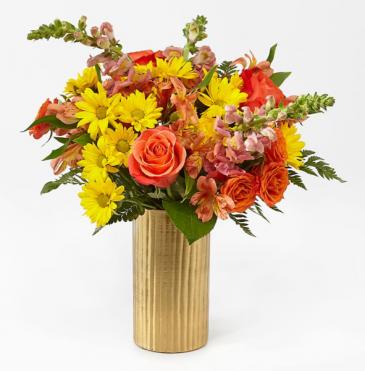 You're Special bouquet AUTUUM FLOWERS IN GOLD METALVASE