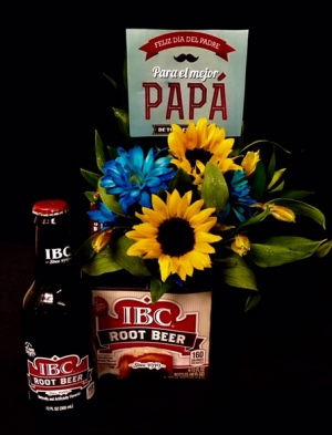 You're The Best Dad! Root Beer & Floral Arrangement in Plainview, TX | Kan Del's Floral, Candles & Gifts