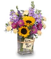 YOU'RE THE BEST! Mixed Flower arrangement in a vase Designers choice (colors and flowers not guaranteed) starting at