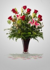 "You're"" The One That I Want     BBS3 MOST POPULAR Red Roses & Lilies Arrangement"