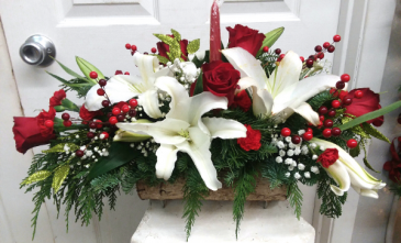 Yule Log of Lilies Winter Arrangement