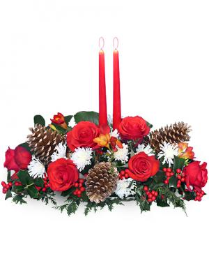 YULETIDE GLOW Centerpiece in Vernon, MI | VERNON AREA FLORISTS