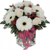 White and Pink filler flower arrangement with  White Roses and Large White Gerbera Daisies!!
