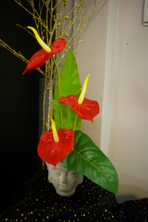 Zen Anthurium  Silk High Style Arrangement