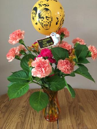 zombodies halloween fall vase with balloon & accents
